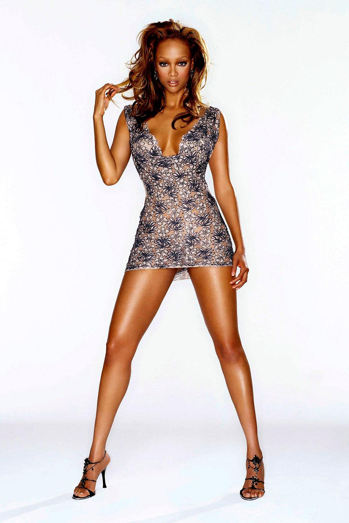 Tyra banks all nude in stello jumpsuit and studded nova slingbacks