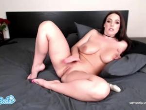 Video Angela White Spitting On Huge Tits And Squirting With Dildo Vibrator Combo